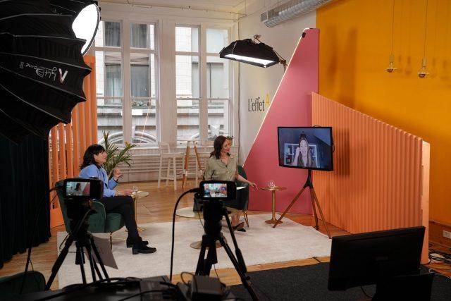 Sophie Brochu et Isabelle Marquis en atelier Défi 100 jours avec une participante à distance