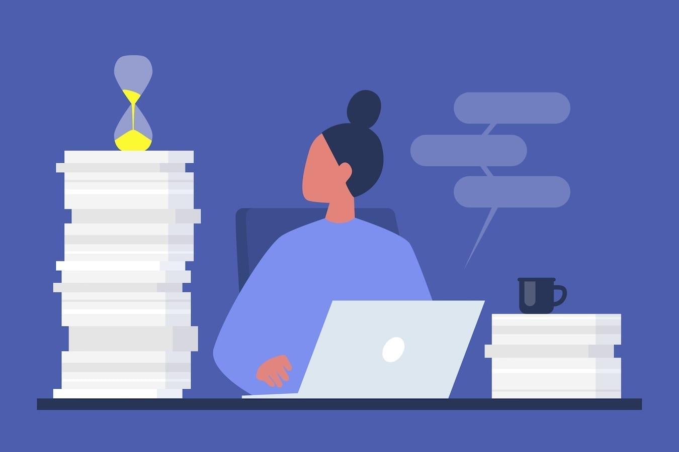 Illustration d'une femme devant son ordinateur