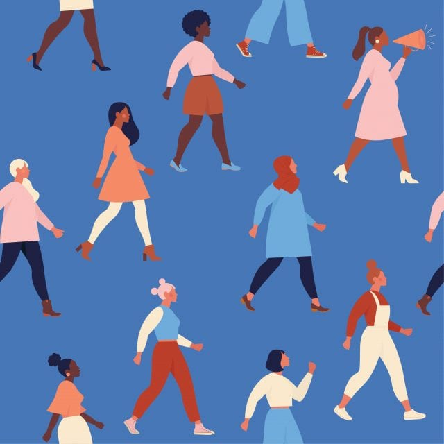 Illustration de plusieurs femmes qui marches dans la même direction