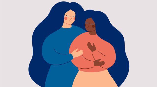 Une illustration de deux femmes qui s'enlaçent